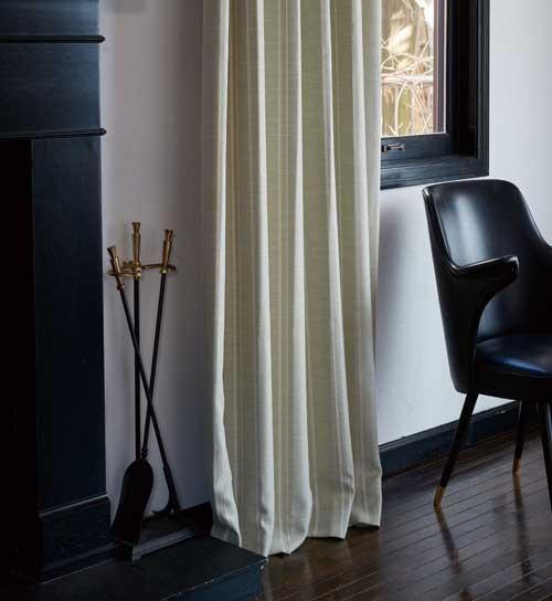 淡めのカラーのストライプ柄カーテン「Beam/グリーン」
